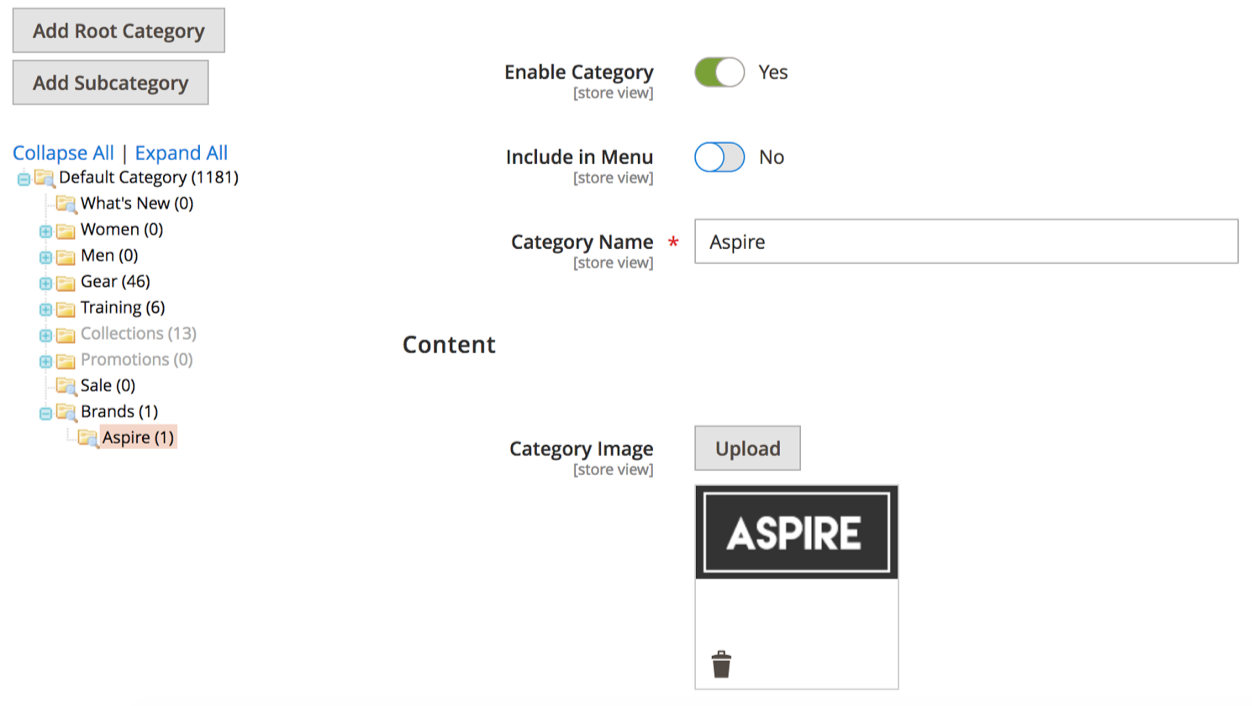 An example of how to set up a brand category: A Category called