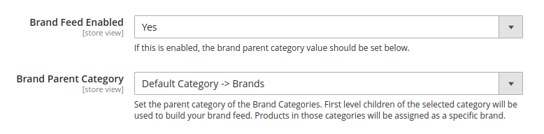 Brand feed configuration options
